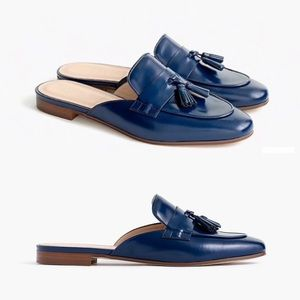 J. Crew Charlie Mules in Glossy Leather